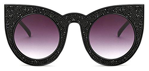 Ronde Surdimensionné RIM De Strass Rétro Lunettes Objectif noir Style I'M Pour Bold œil Soleil KING Chat Gris Luxe De Bijou Femme v1waTxq6