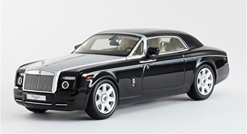 ROLLS ROYCE PHANTOM 2DR COUPE DIAMOND BLACK WITH SATIN SILVER HOOD AND TAN INTERIOR Model Car in 1:43 Scale by Kyosho (Rolls Royce Truck)