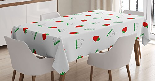 Easter Tablecloth by Ambesonne, Cute Bunny on Grass and Strawberries Pattern Rabbit Kids Children Illustration, Dining Room Kitchen Rectangular Table Cover, 52W X 70L Inches, Green Red White