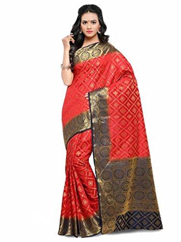 Woven Blue amp; Handicrfats Saree Satrani Poly Export Design Red Kanjeevaram Indian Silk nA8XqAC