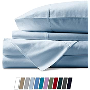 Mayfair Linen 100% Egyptian Cotton Sheets, Sky Blue Queen Sheets Set, 600 Thread Count Long Staple Cotton, Sateen Weave for Soft and Silky Feel, Fits Mattress Upto 18'' DEEP Pocket