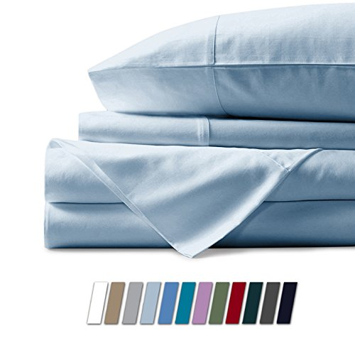 500 Thread Count 100% Cotton Sheet Light Blue King Sheets Set, 4-Piece Long-staple Combed Pure Cotton Best Sheets For Bed, Breathable, Soft & Silky Sateen Weave Fits Mattress Upto 18'' Deep Pocket (Best Bed Sheets Under 100)