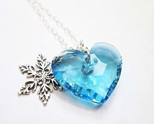 Amazon.com: Blue Swarovski necklace, Blue Heart pendant
