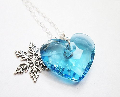 Amazon blue swarovski necklace blue heart pendant swarovski blue swarovski necklace blue heart pendant swarovski crystal jewelry aquamarine necklaces 925 aloadofball Image collections