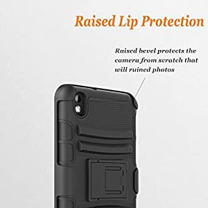 HTC Desire 816 Case, Combo Rugged Shell Cover Holster with Built-in Kickstand and Holster Locking Belt Clip + Circle(TM) Stylus Touch Screen Pen And Screen Protector Black