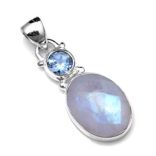 (Silver Palace Sterling Silver Natural Rainbow Moonstone,Blue Topaz Pendants for Women and Girls)