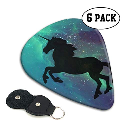 Classic Picks (6 Pack) for Electric Guitar, Acoustic Guitar, Mandolin, and Bass Galactic Unicorn (Black)