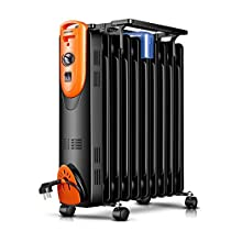 GUO@ Oil Filled Radiator – Portable Electric Heater – 3 Power Settings, Adjustable Temperature & Tip Over Safety Switch Space Heaters (Size : 10 slices)