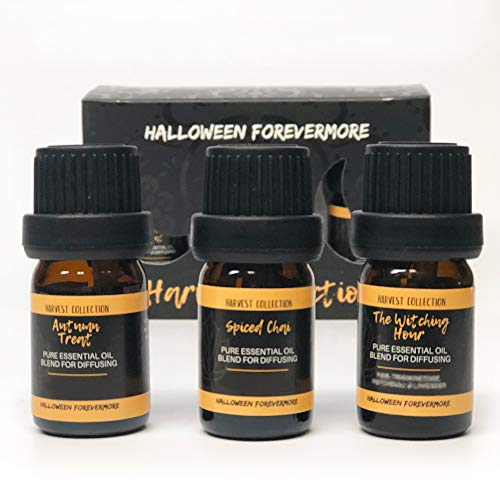 Halloween Forevermore Harvest Collection Pure Essential Oils | For Humidifiers & Aromatherapy Diffusers | Light & Spiced Autumn Scents (3 bottles, 5ml -