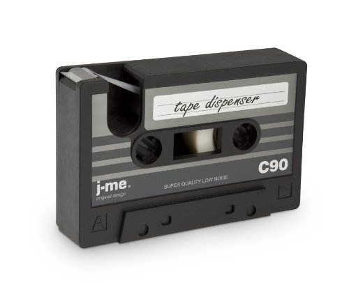 j-me Cassette Tape Dispenser - Black. an Ideal Stationery Accessory for The Home or Office Desk | Compatible with Scotch Tape & 3M Tape -