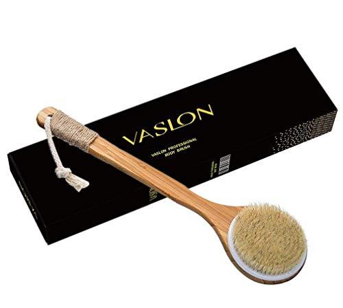 Grip 16' Bath (VASLON Bath Body Brush Boar Bristles Exfoliating Body Massager with Long Wooden Handle Back Brush Shower Brush VASLON)