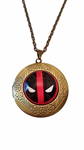 Domed Dog Tag Necklace - Marvel's Deadpool Glass Domed Pendant Locket Necklace