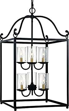 Feiss P1331AF Declaration Glass Pendant Lighting, Iron, 1-Light 8 W x 22 H 60watts