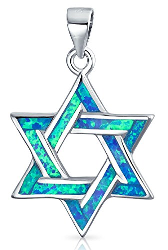 Synthetic Blue Star - Synthetic Blue Opal Inlay Rhodium Plated Star of David Pendant