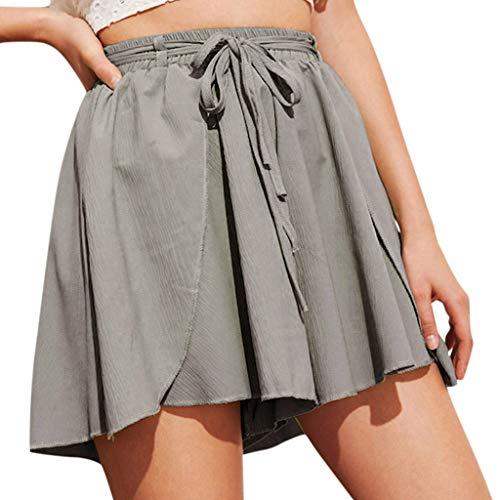 Waist Embellished - TIFENNY Wide Leg Shorts for Women Fashion Mini Skirts Summer High Waist Straight Button Embellished Pocket Chiffon Pants Green