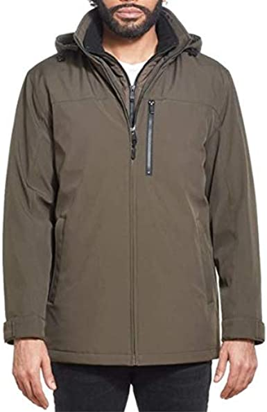Weatherproof Ultra Tech Mens Jacket Winter Coat for Men Winter Coat Rain Jacket for Men with Fleece Bib and Removable Hood
