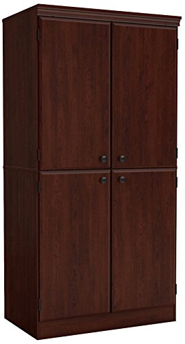 Lockable Cupboard - South Shore 7246971 Tall 4-Door Storage Cabinet with Adjustable Shelves, Royal Cherry