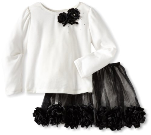 Biscotti Little Girls' Class Act Top And Skirt Set, Ivory/Black, 04 by Biscotti