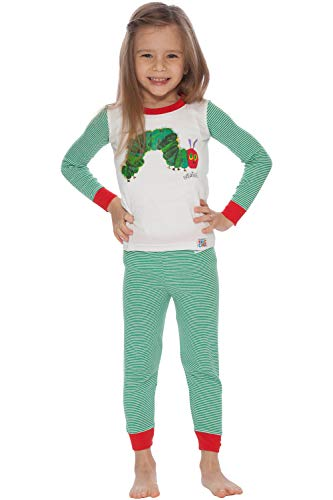 Intimo Little Boys' Toddler Eric Carle Caterpillar Pajamas, Green, 4T