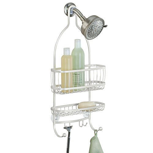 (InterDesign York Metal Wire Hanging Shower Caddy, Extra Wide Space for Shampoo, Conditioner, and Soap with Hooks for Razors, Towels, and More, 10