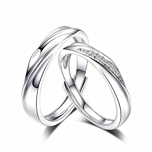 LOCHING Simple Life Interwoven Love 925 Sterling Silver Cubic Zirconia Couple Lovers Band Ring Wedding Promise Engagement Anniversary Ring Set Adjustable size - Couples Silver Ring