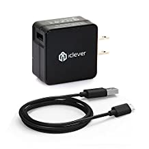 iClever BoostCube 18W Turbo Quick Charge 2.0 USB Wall Charger with 3.3ft Micro USB Cable for Galaxy S7 S6 Edge Plus, Note 5 4, LG G4, Nexus 6, Sony Z3, HTC M9 and More