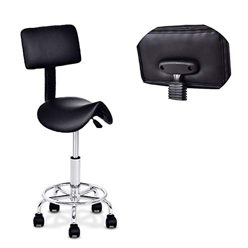 Beauty Salon Stool Rolling Saddle Chair Adjustable Massage Chair Tattoo Facial Spa with Backrest (Adjustable Hydraulic With Wheel) (Black)...