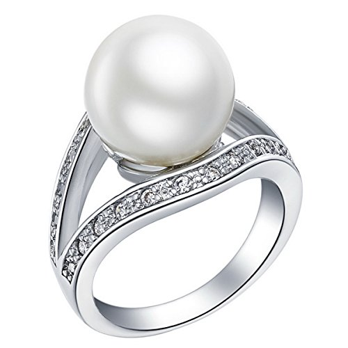 [PSRINGS costume jewelry silver 925 crystal micro paved art deco vintage simulated fresh water pearl rings] (Ninja Turtle Nose Costume)