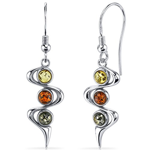 Three Stone Baltic Amber Earrings Sterling Silver Green Honey Cognac ()