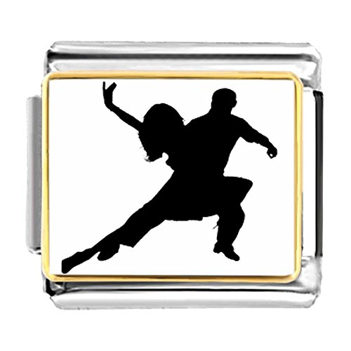 GiftJewelryShop Gold Plated Dance themes Tango Dancer charm Bracelet Link Photo Italian (Dancer Charm Gold Plated)