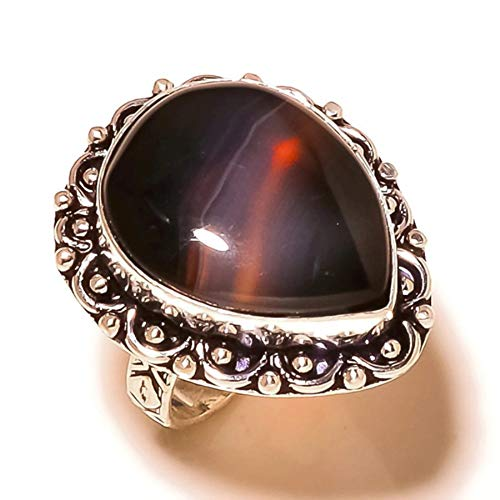 Jewels House Banded Botswana Agate Pear Gemstone Silver Plated Handmade Statement Ring US-8.5
