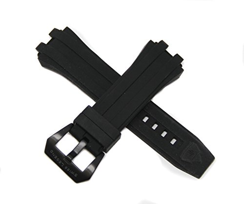 Challenger Band - Swiss Legend 28MM Black Silicone Rubber Watch Strap & Black Stainless Buckle fits 50mm Challenger Watch