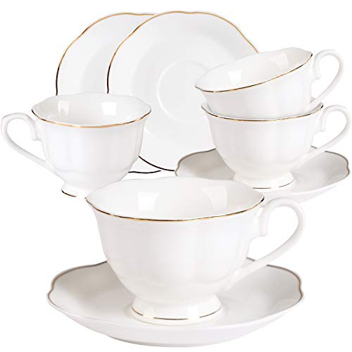 - Ceramic Coffee Tea Cup and Saucer Set - 7OZ Cup Set Golden Leaves Edge New Bone China Coffee Cup Set of 4 for Mocha Latte Cappuccino