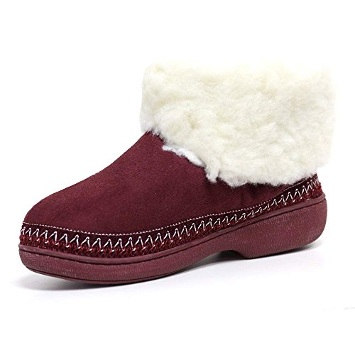 LUXURY BOOTS BOOTIE THERMAL LADIES Burgundy WOMENS FUR WARM SLIPPERS ANKLE WINTER SIZE SHOES qFxEwX