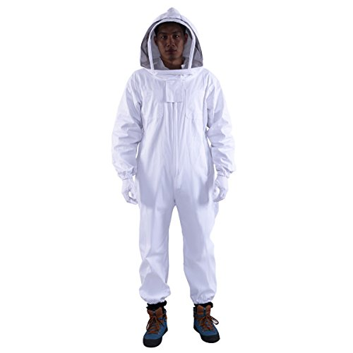 Professional Cotton Full Body Beekeeping Bee Keeping Suit w/Veil Hood by onestops8