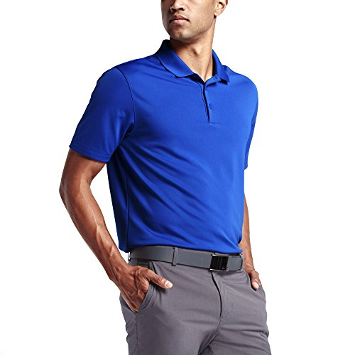 (NIKE Men's Dri-Fit Golf Solid Polo Shirt (Game Royal/White, X-Large))