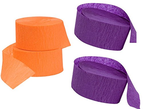 2 rolls each Halloween Purple and Orange Crepe Paper Streamers