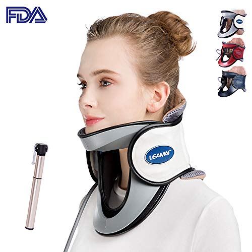 (LEAMAI Newest Cervical Neck Traction Device - Adjustable Inflatable Neck Stretcher Collar for Home Traction Spine Alignment -(C03,White))