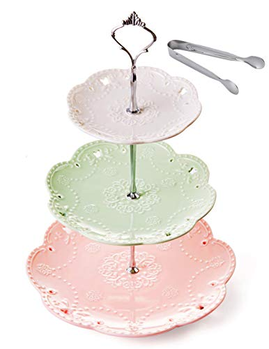 Jusalpha 3-tier Ceramic Cake Stand-Dessert Stand-Cupcake Stand-Tea Party Serving Platter, 3 Color (Silver)