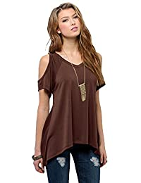 Urban CoCo Women's Shoulder Off Gradient Color Tunic Top Shirt