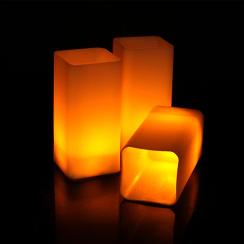 3' Small Pillar Candle (Flameless Flickering LED Candles Square Pillar Fake Candle Electric Tealight for Home Decor Wedding Parties, Amber Yellow Bulb, Pack of 12)
