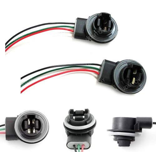 iJDMTOY 3156 3157 Wiring Harness Sockets For LED Bulbs, Turn Signal Lights, Brake ()