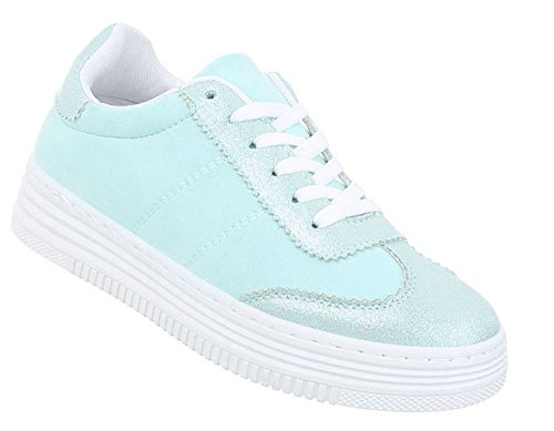 Sneakers Damen Freizeitschuhe Schuhcity24 Türkis Schuhe wPttgY