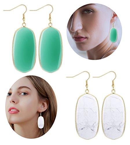 Teardrop Slice - Jstyle 2Pairs Teardrop Oval Earrings For Women Girls Stone Crystal Dangle Drop Earrings Turquoise Earrings