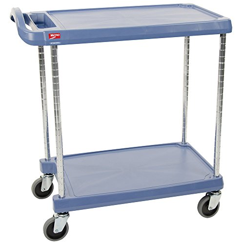 (InterMetro Industries MY2636-25BU Mycart Series Blue Polymer Utility Cart with Built-in Microban Antimicrobial Product Protection, 2 Shelf, 36.63 X 40.25 X 27.69-Inch)