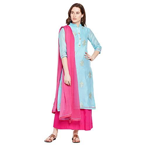 PinkShink Women's Readymade Blue and Pink Chanderi Silk Embroidered Indian/Pakistani Salwar Kameez Dupatta ()