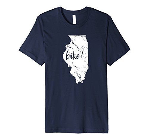 Mens Bike Illinois T Shirt, Gift for cyclist, biker, triathlete XL - Chicago Shop Triathlon