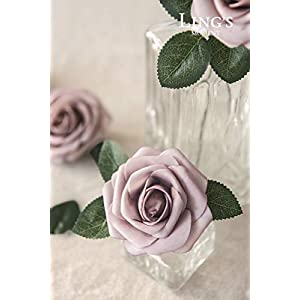 Ling's moment Artificial Rose Flowers 25pcs Dusty Rose Foam Roses with Stem for DIY Wedding Flower Arrangements Centerpieces Bouquets Outdoor Party Decorations 2