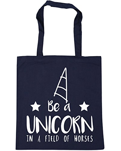 HippoWarehouse Be a unicorn in a field of horses Tote Shopping Gym Beach Bag 42cm x38cm, 10 litres French Navy