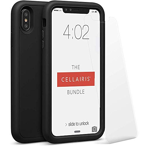 Cellairis - The Cellairis Bundle, Cell Phone Case for Apple iPhone Xs Max (Black), Tempered Glass Screen Protector for Apple iPhone Xs Max